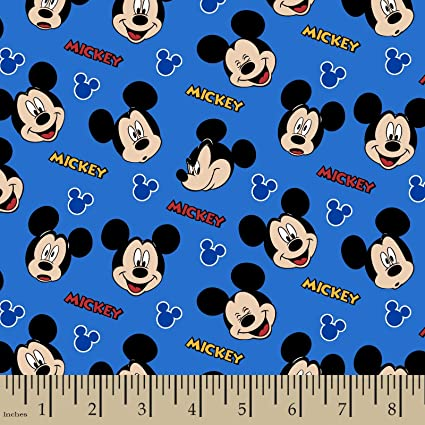 Mickey Mouse Fabric Sc127 Mickey Mouse Faces Blue Disney Fabric