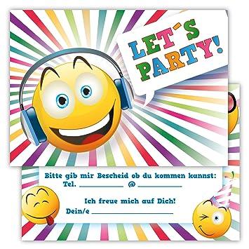 Elegant 12 Lustige Einladungskarten Set Kindergeburtstag Party Emoji Smiley Disco  Jungen Mädchen Kinder Top Geburtstagseinladungen Karten Witzig