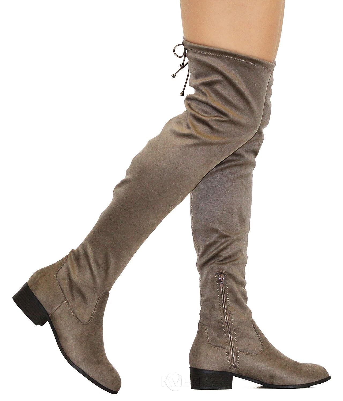 e526d5b38a3 MVE Shoes Women s Fashion Comfy Vegan Suede Block Heel Side Zipper Back  Lace Thigh High Over
