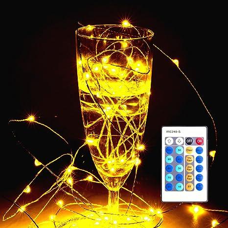 LUZWAY Tiras LED Cadena de Luz LED 10m 100 LEDs Bombillas Flexible Alambre de Cobre Impermeable