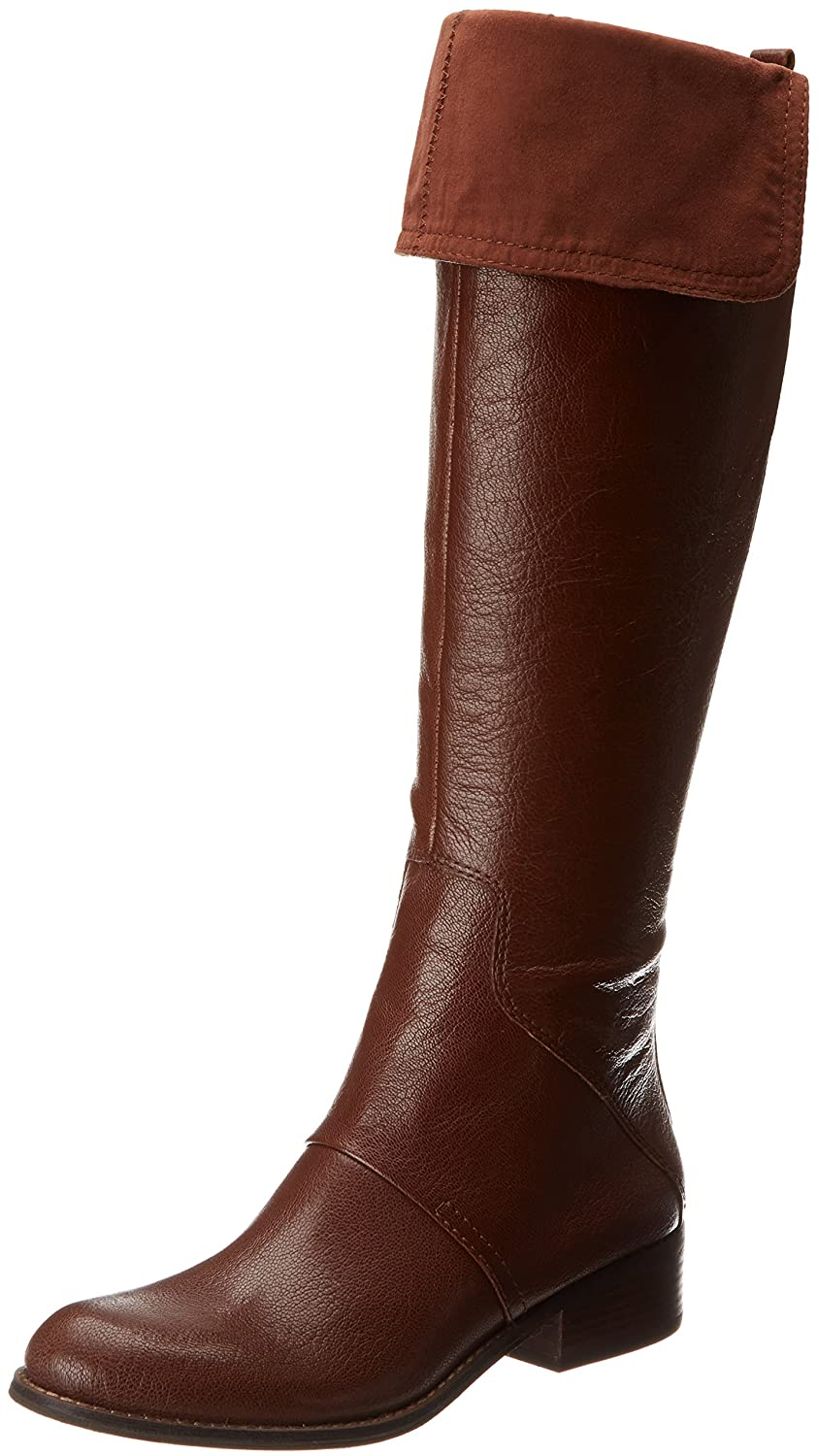Women's Cognac Genuine Pebbled Leather Knee-High Fold Over Cuff Pirate Boots - DeluxeAdultCostumes.com