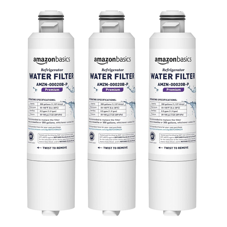AmazonBasics Replacement Samsung DA29-00020B Refrigerator Water Filter - Premium Filtration - 3-Pack