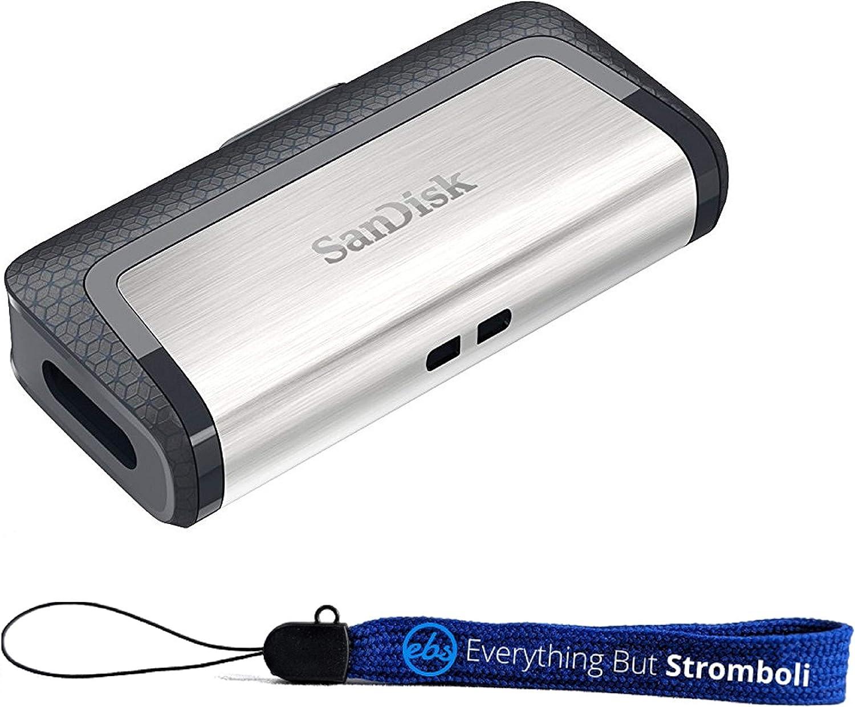 SanDisk Ultra 256GB Dual Drive USB Type-C Flash Drive Bundle (SDDDC2-256G-G46) with Everything But Stromboli (TM) Lanyard (256GB)