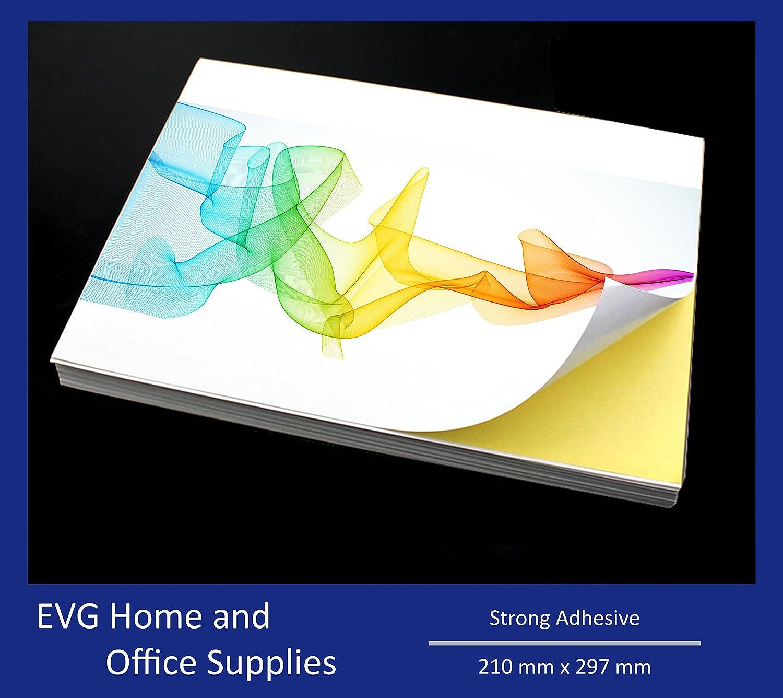 50 feuilles de Papier format A4 Blanc mat/Autocollant auto-adhésif Label feuilles de Papier d'impression Evergreen Goods