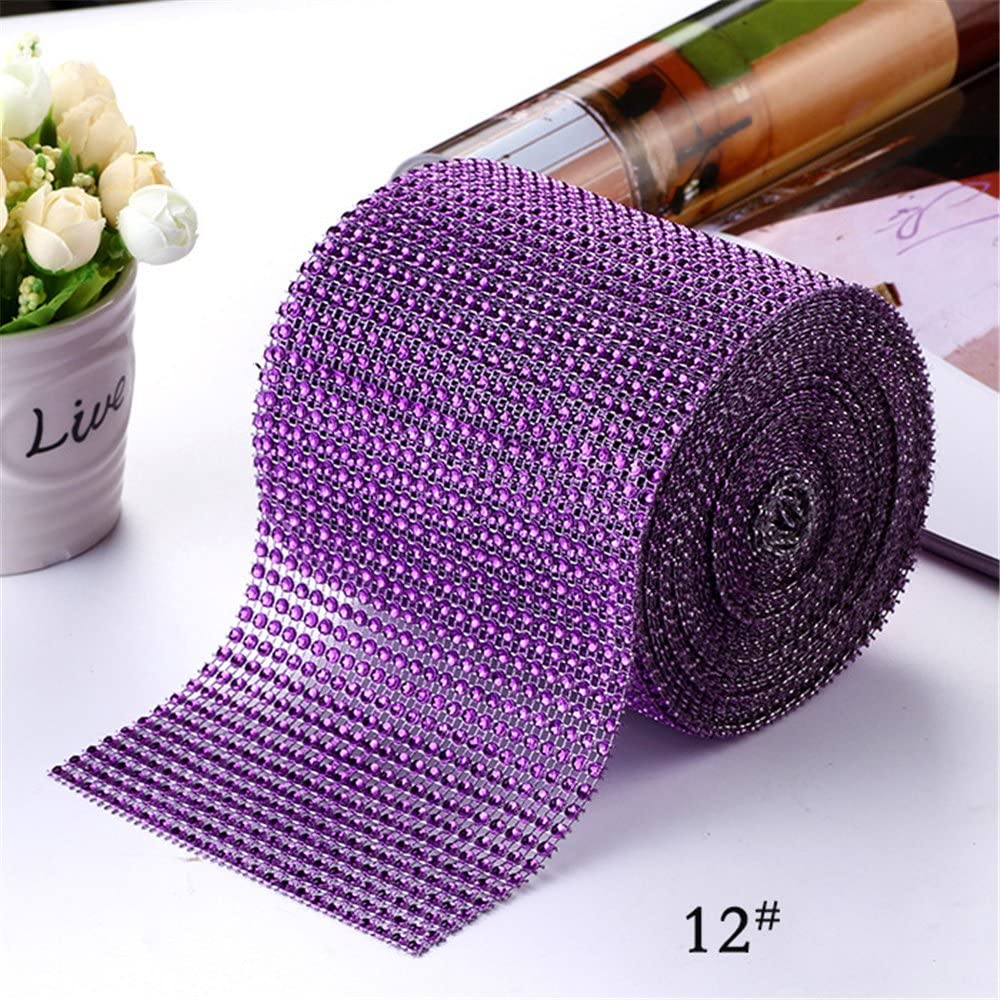 USIX 4.75x10 Yard Roll 24 Rows Artificial Sparkling Glitter Rhinestone Diamond Mesh Ribbon Webbing Wrap for DIY Arts Craft Sewing Wedding Bouquet Cake Birthday Party Decoration Coffee