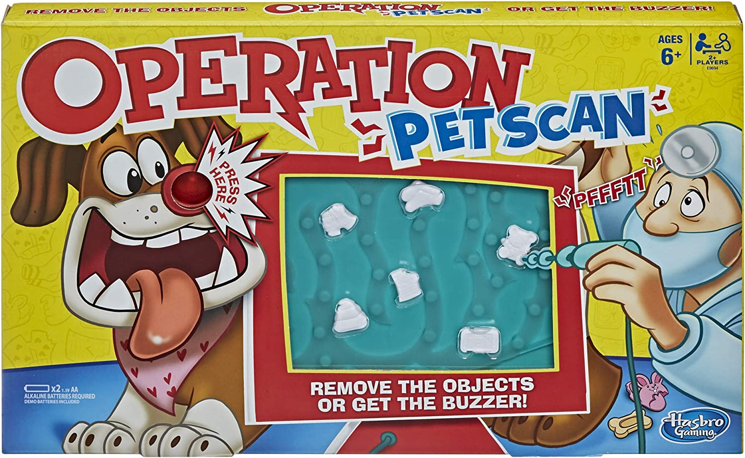 Operation Pet Scan Board Game for 2 or More Players, Kids Ages 6 and Up, with Silly Sounds, Remove The Objects or Get The Buzzer