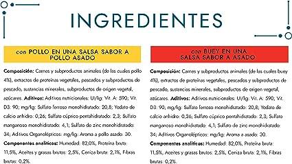 Purina Gourmet Perle Delicias en Salsa comida para gato con Pollo y Buey 12 x [4 x 85 g]