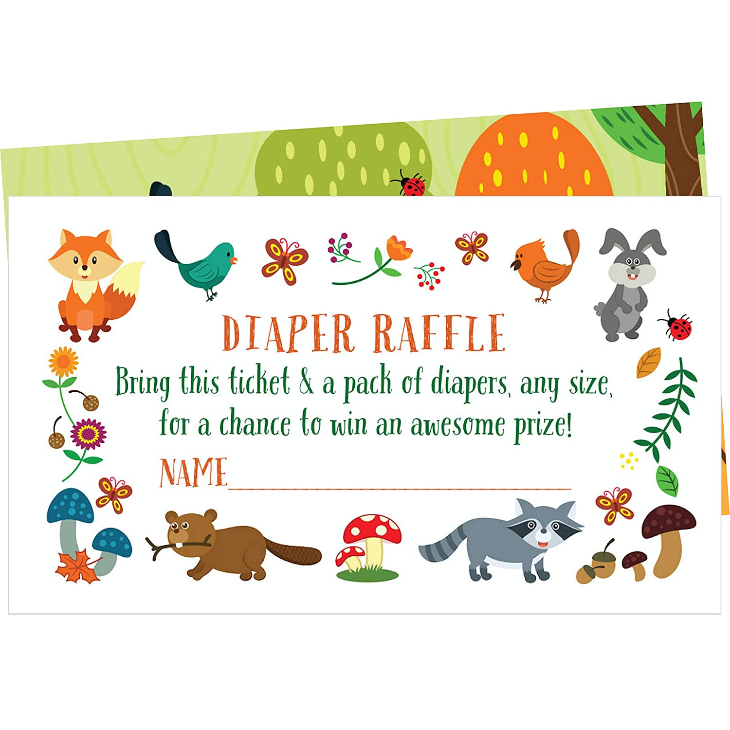 50 Woodland Creatures Diaper Raffle Tickets - Create a Fun Baby Shower Game with These Diaper Raffle Cards