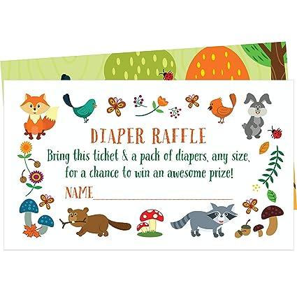 Amazon Com 50 Woodland Creatures Diaper Raffle Tickets Create A