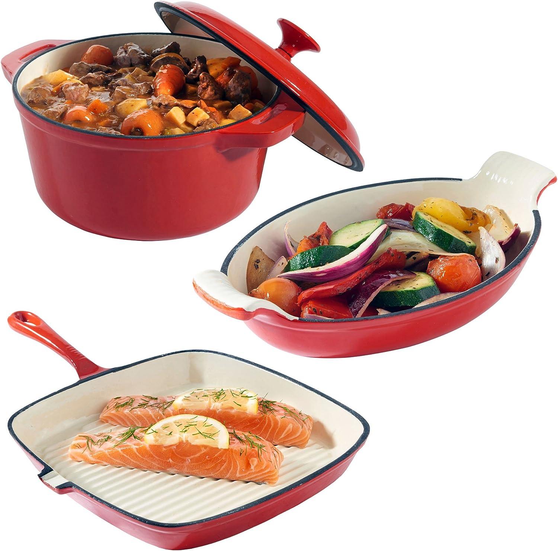 VonShef Juego de 3 Platos de Hierro Fundido, Cazuela, Plato para gratinar y Sartén – Apto para horno y sobremesa