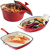 VonShef Cast Iron Dishes Set of 3 Casserole, Gratin and Griddle Set - Oven to Table Cookware