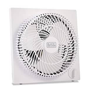 BLACK + DECKER BFB09W Frameless Box Fan with Remote 9, White
