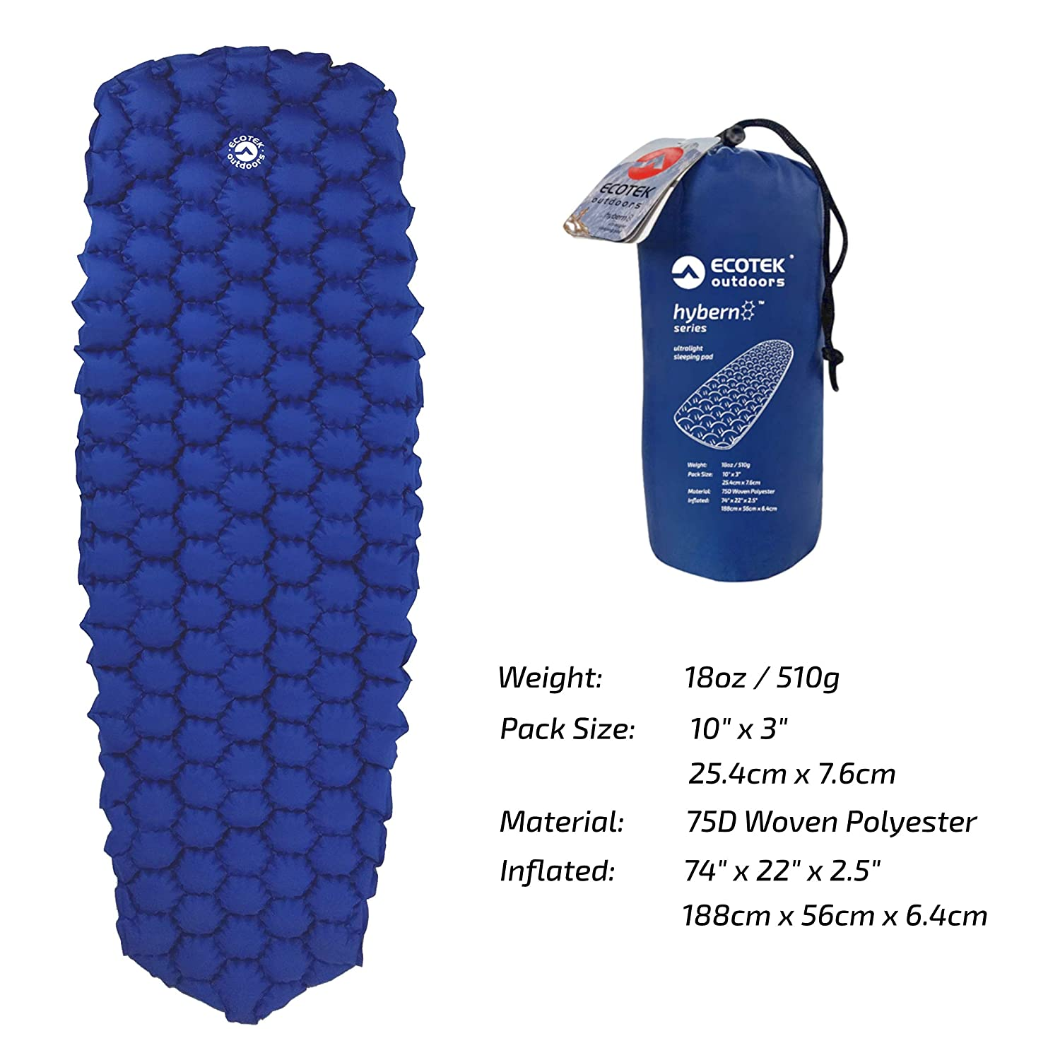 ECOTEK Outdoors Hybern8 Ultralight Inflatable Sleeping Pad for ...