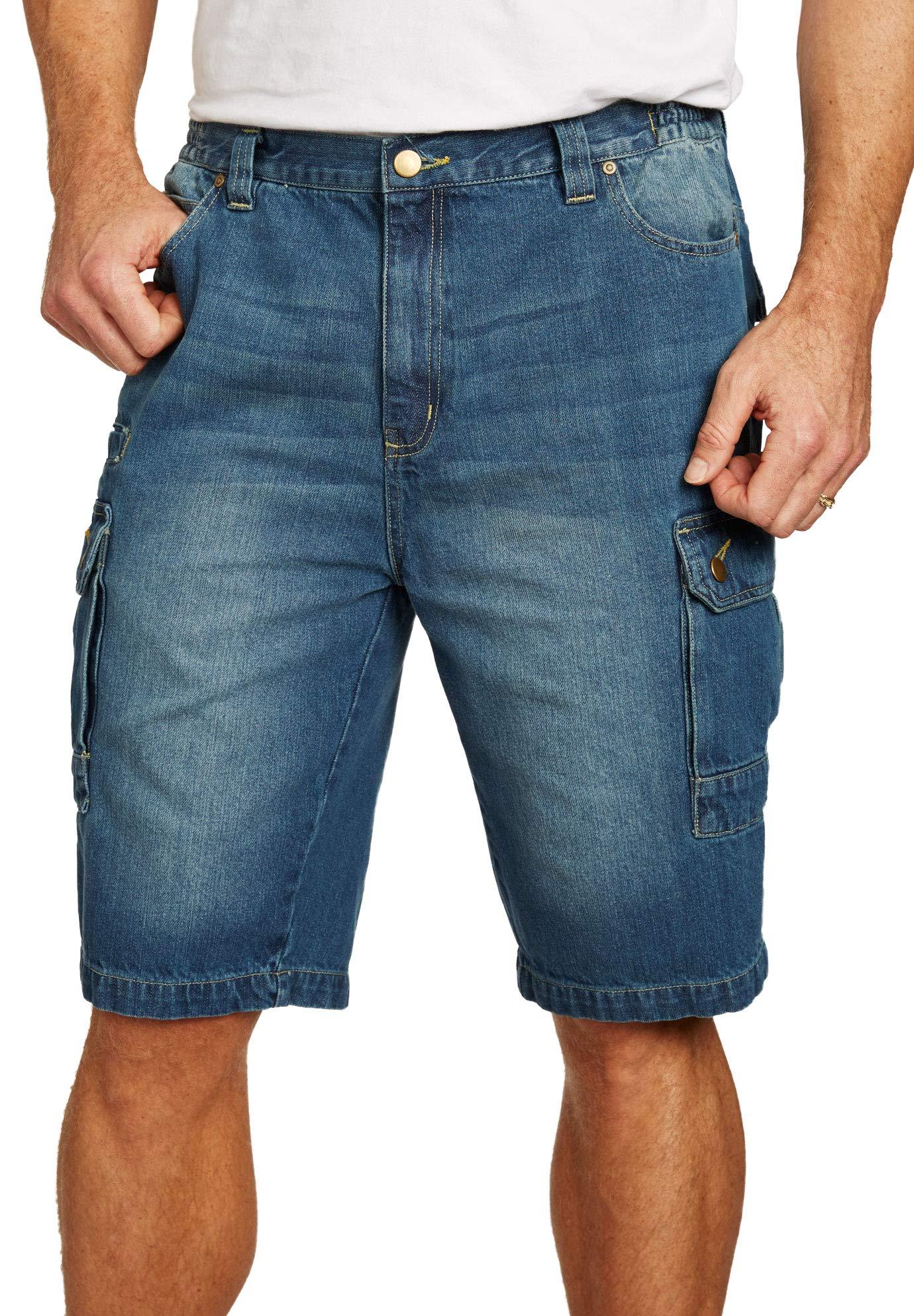 Liberty Blues Men's Big & Tall Denim Cargo Shorts, Blue Wash Big-48