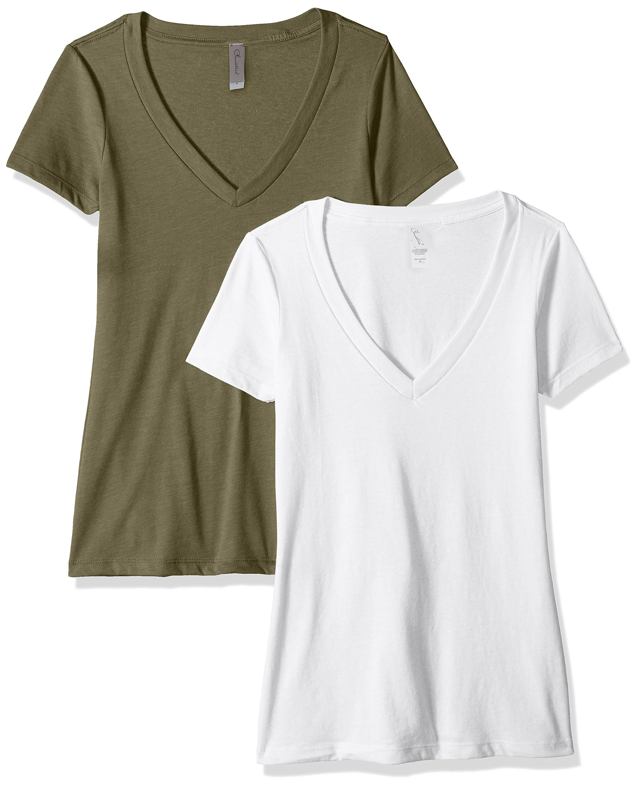 Clementine Apparel Women's Petite Plus Deep V-Neck T-Shirt (Pack of Two), WhiteMilitary, L