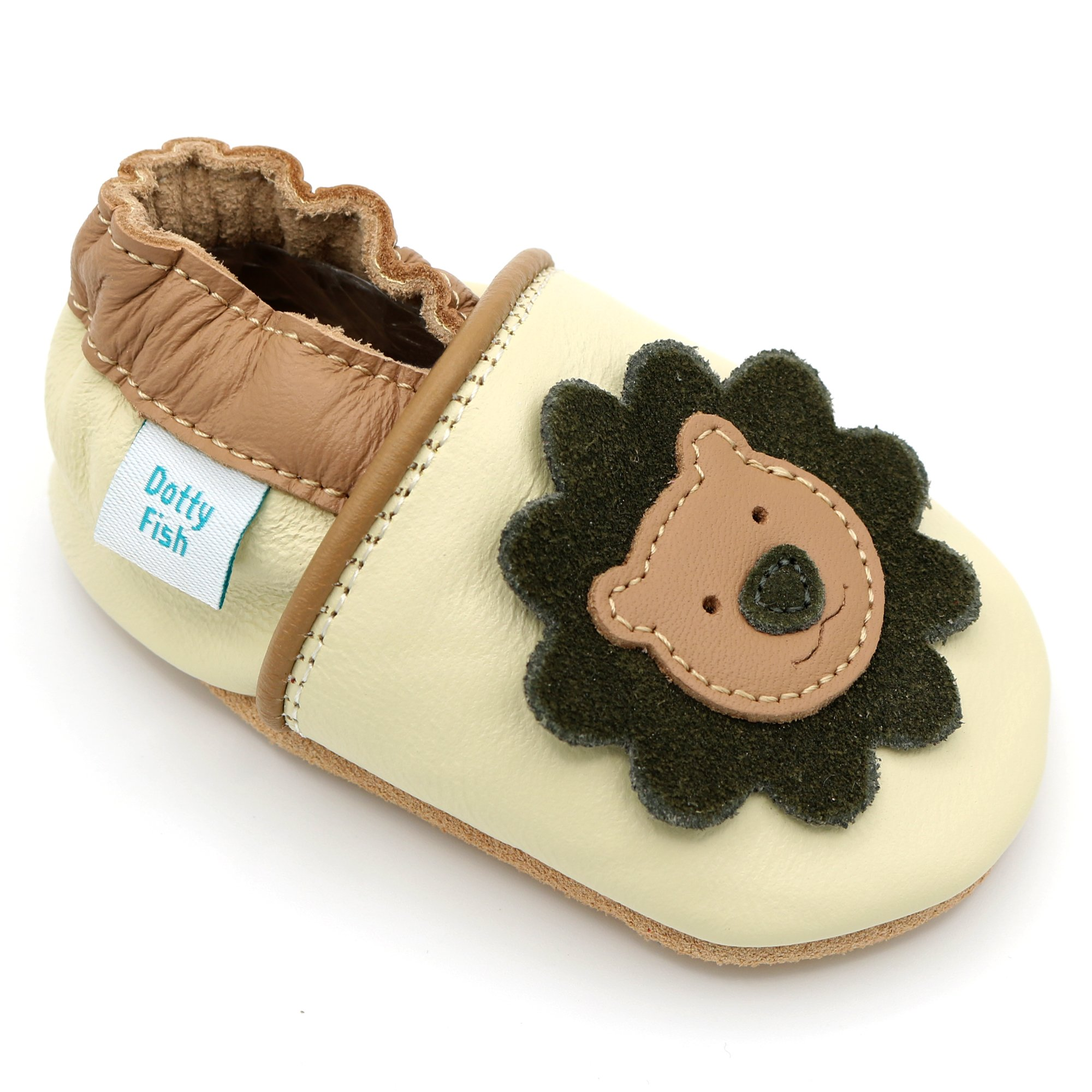 60f31923404d4 Dotty Fish Soft Leather Baby Shoes. 0-6 Months to 4-5 Years. With Dinosaur