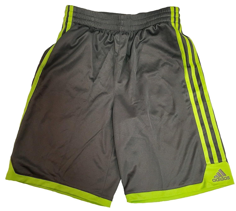 Adidas Boysアスレチックバスケットボールショーツ B016L99YP0 グレー/グリーン Small