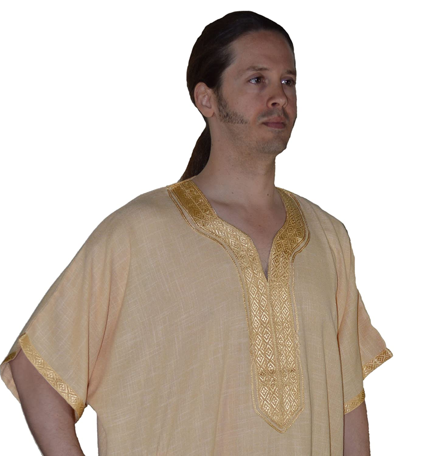 1baa75f9ca4e Amazon.com : Moroccan Men Clothing Hand made Djellaba Gandoura One Size  Gold : Everything Else