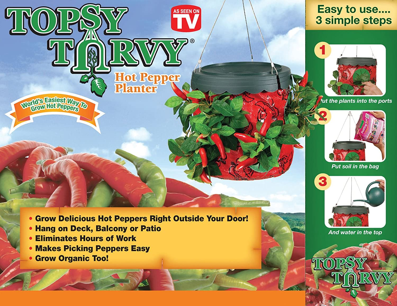 Topsy Turvy Upside Down Hot Pepper Planter by Felknor Ventures As Seen on TV