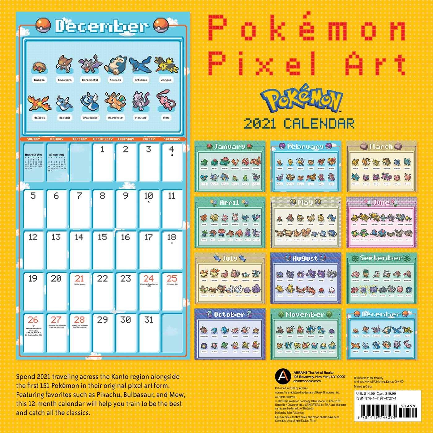 Amazon Pokemon Pixel Art 2021 Wall Calendar Pokemon Card Games