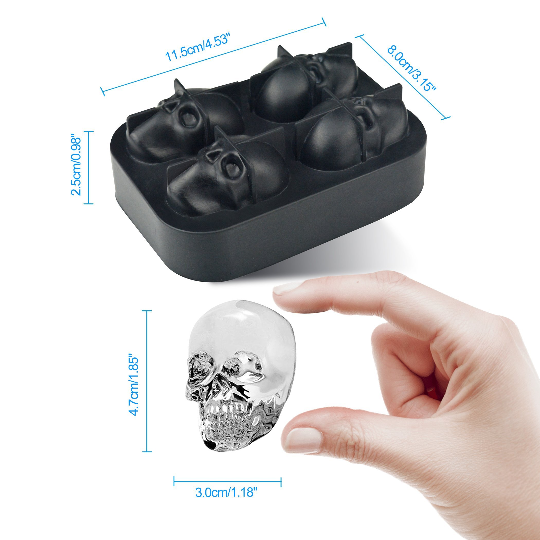 3D Skull Ice Cube Trays for Whisky, Cocktail, Wine, Kitchen, Bar, Party and Halloween by LINPOZONE (Image #3)