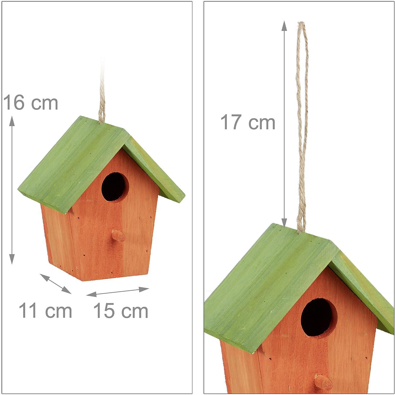 Relaxdays Maison /à oiseaux nichoir perchoir en bois color/é /à suspendre HxlxP 16 x 15 x 11 cm orange//vert
