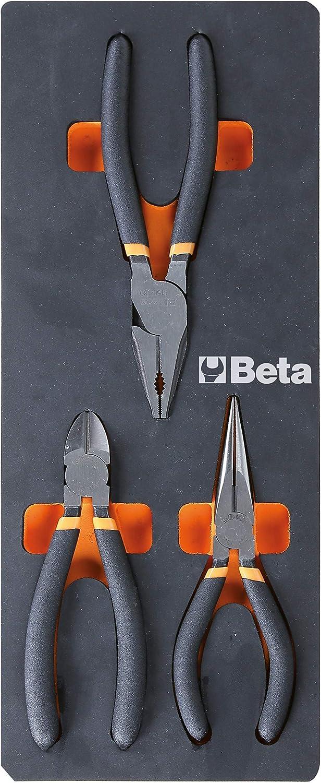 Beta M133 - Alicates y alicates de módulo suave, surtido de 1 alicates universales, 1 alicates medianos largos y 1 alicates, con 2 capas de PVC antideslizante con acabado industrial