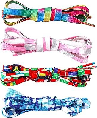 Jurxy 4 pares de cordones de zapatos planos anchos para mujer, niñas y niños, zapatos de lona coloridos con estampado de colores, bandera de arcoiris rosa azul: Amazon.es: Zapatos y complementos