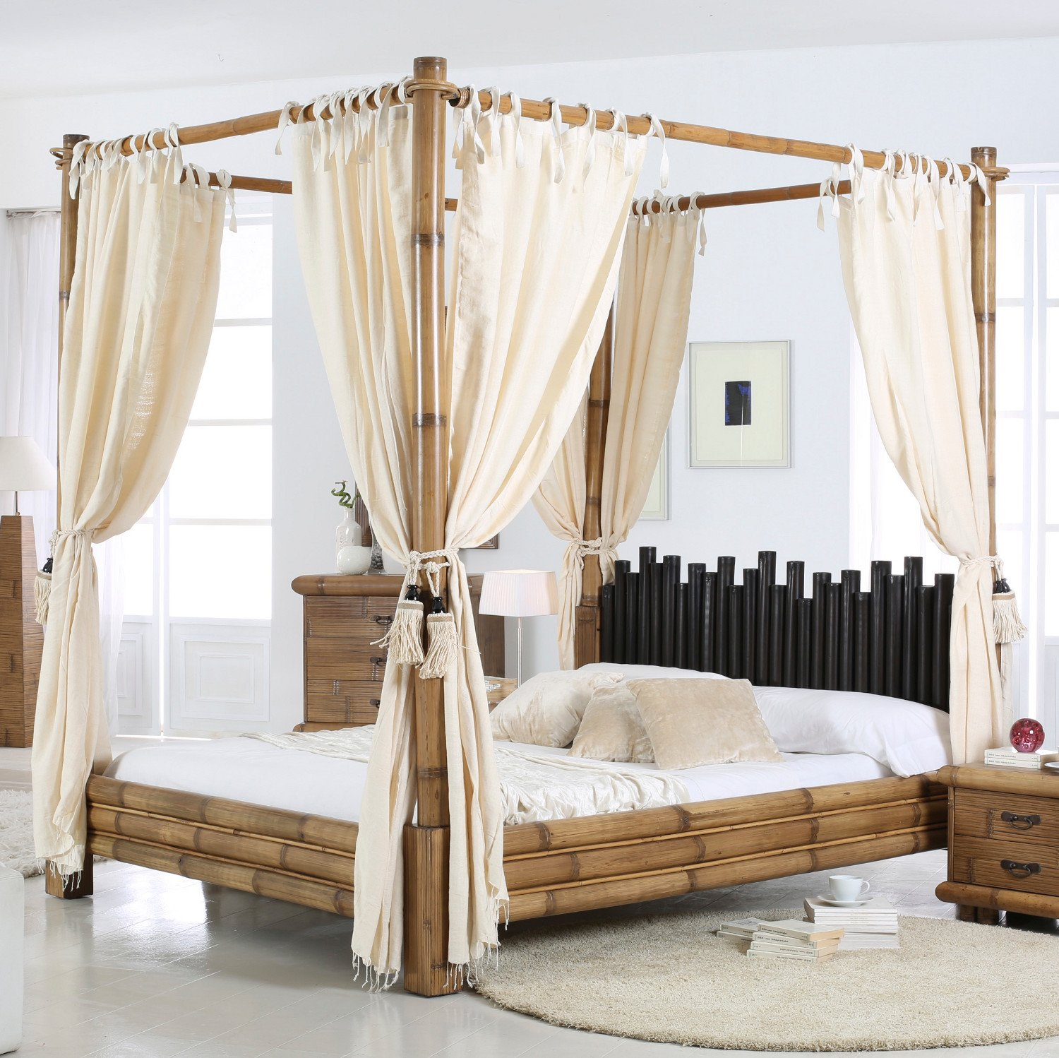 Cabana Canopy Bed Bamboo Bed 180 x 200 Honigantik Natural Amazon