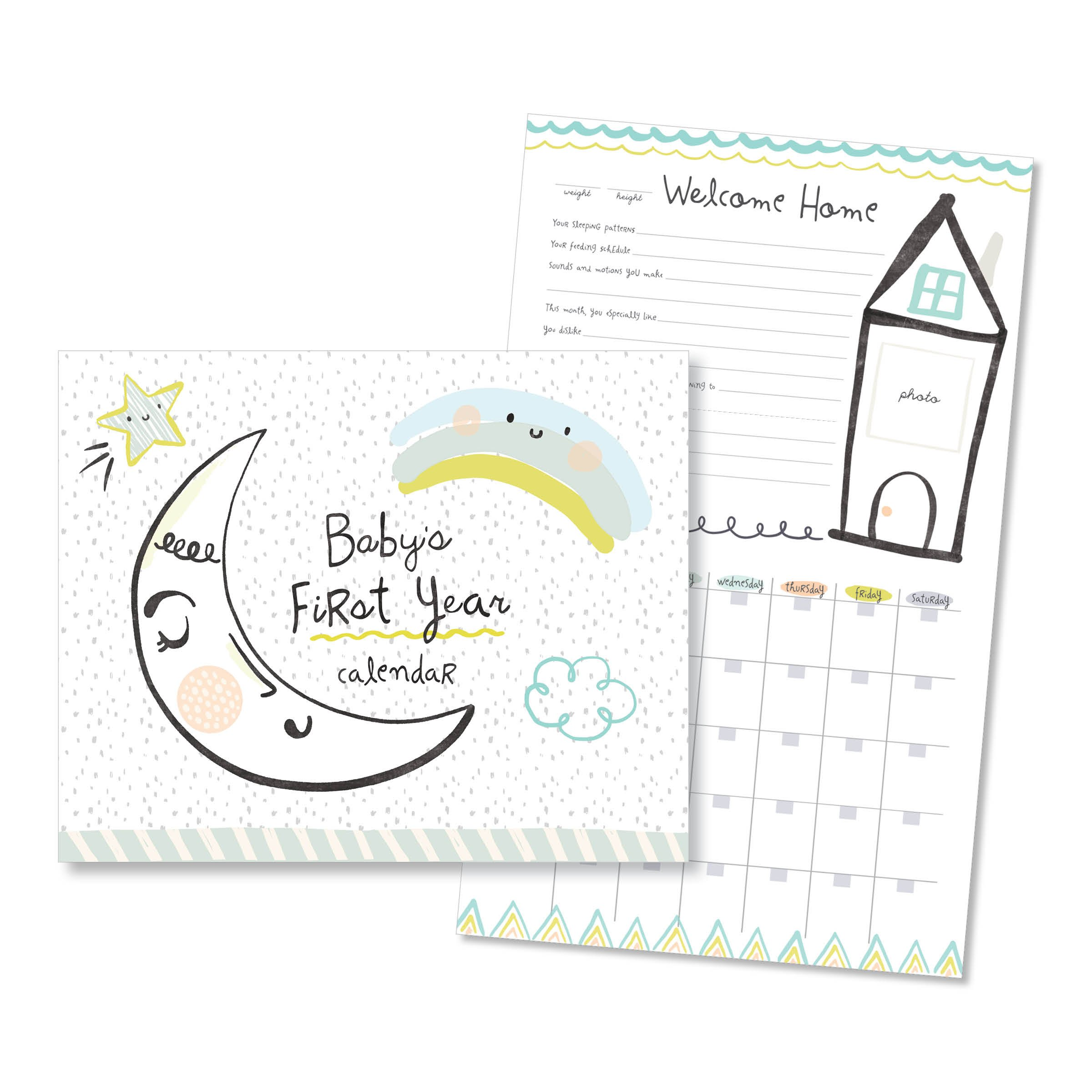 C.R. Gibson Moon and Stars Baby First Year Calendar