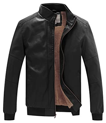 WenVen Men's Winter Fashion Faux Leather Jackets at Amazon Men's ...