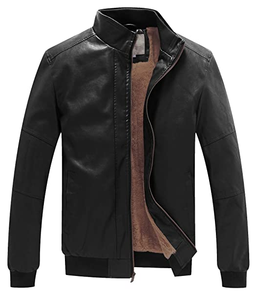 582d3af81 WenVen Men's Winter Fashion Faux Leather Jackets