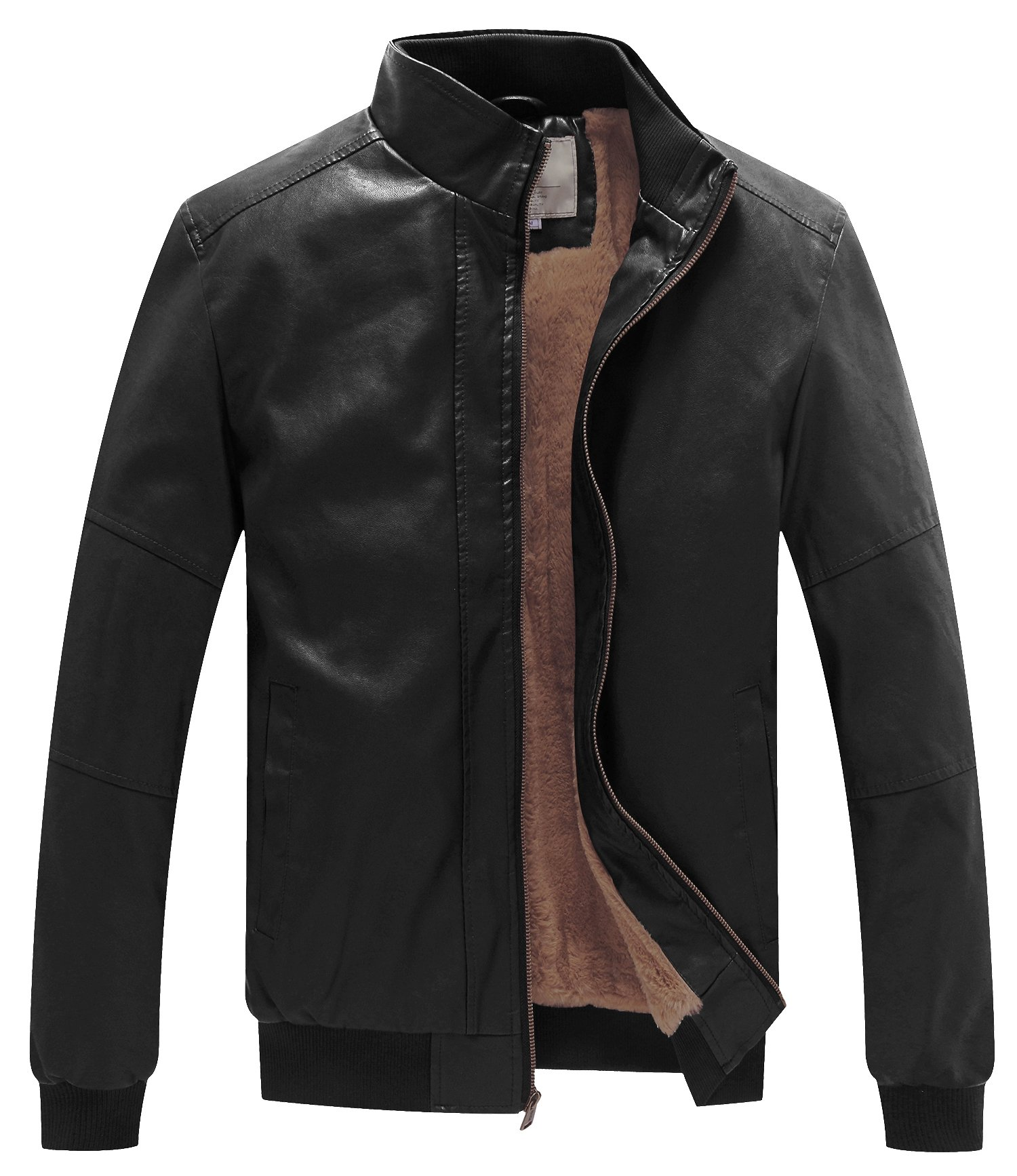 WenVen Men's Winter Fashion Faux Leather Jackets (Black, Medium)