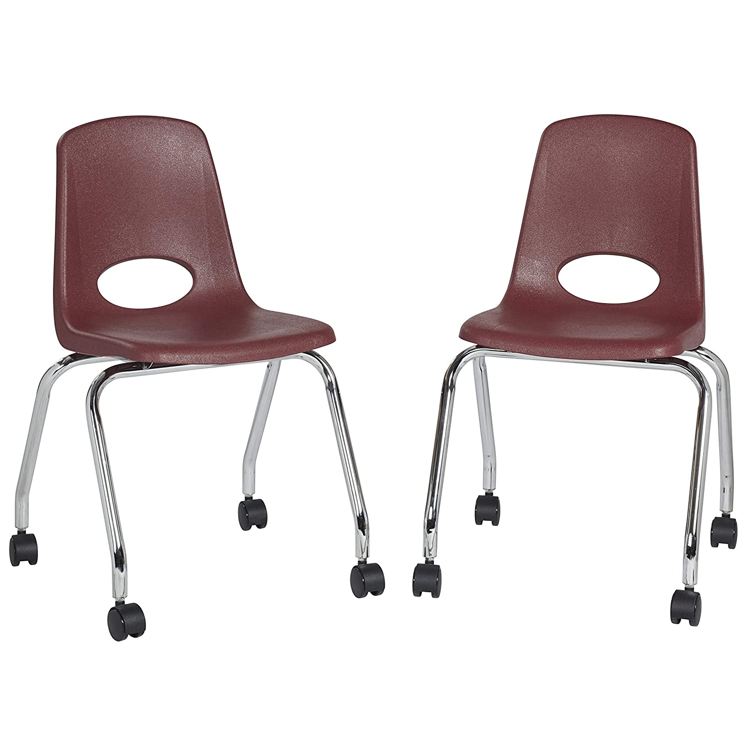 "Factory Direct Partners 18"" Mobile School Chair with Wheels for Kids, Teens and Adults; Ergonomic Seat for in-Home Learning, Classroom or Office - Burgundy (2-Pack) (10372-BY)"