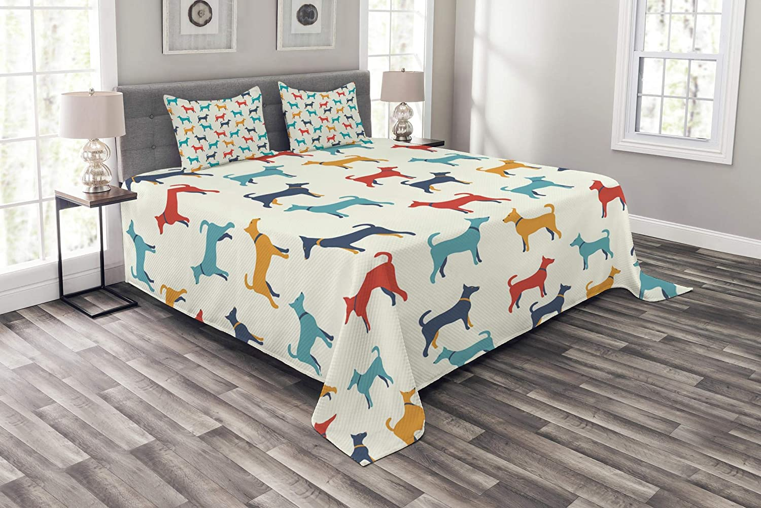 Ambesonne Dog Bedspread, Contemporary Colorful Illustration of Dog with Contours in Retro Style Print, Decorative Quilted 3 Piece Coverlet Set with 2 Pillow Shams, Queen Size, Teal Beige