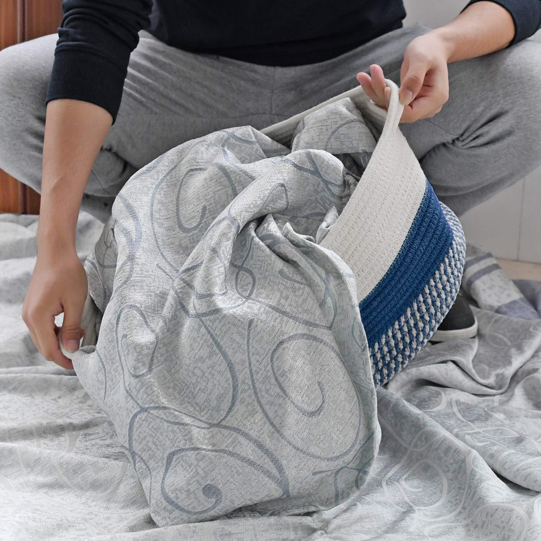 RAVCON Cotton Basket Storage Basket Decorative Blanket Cotton Rope Woven Nursery Natural Storage Bins for Storage Toys Laundry Hamper 7.8 x 17.7-Navy Towels Laundry Hamper 7.8 x 17.7-Navy Towels Books