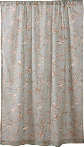 Levtex Home – Lyon Teal – Window Panel with Rod Pocket – One Curtain Panel 84 inch Length – Bird Toile – Teal, Taupe, Cream, Brown – 100 Cotton – Lined