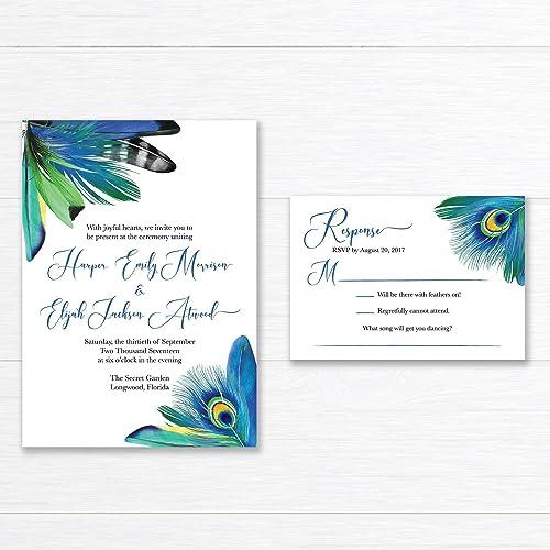Amazon Com Peacock Feather Wedding Invitation Suite Handmade