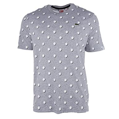 85040db8 Lacoste Men's Live Crew Neck Polka DOT Jersey T-Shirt (7-2X-Large ...