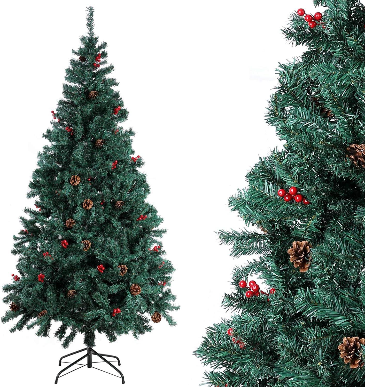 Homfa Árbol Navidad Artificial de Pino PVC con Soporte Metálico Decoración Navideña Verde 180cm 850 Ramas