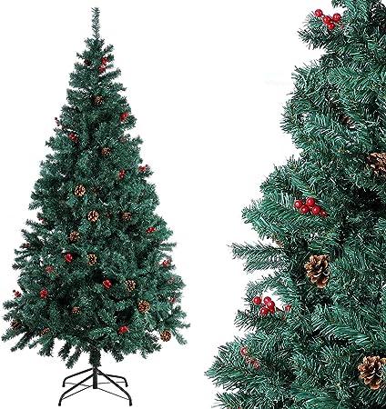 Homfa Árbol Navidad Artificial de Pino PVC con Soporte Metálico Decoración Navideña Verde 180cm 850 Ramas: Amazon.es: Hogar