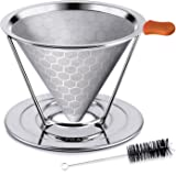 E-PRANCE Honeycombed Stainless Steel Coffee Filter, Reusable Pour Over Coffee Filter Cone Coffee Dripper with Removable Cup Stand and Bonus Brush(2nd Generation)