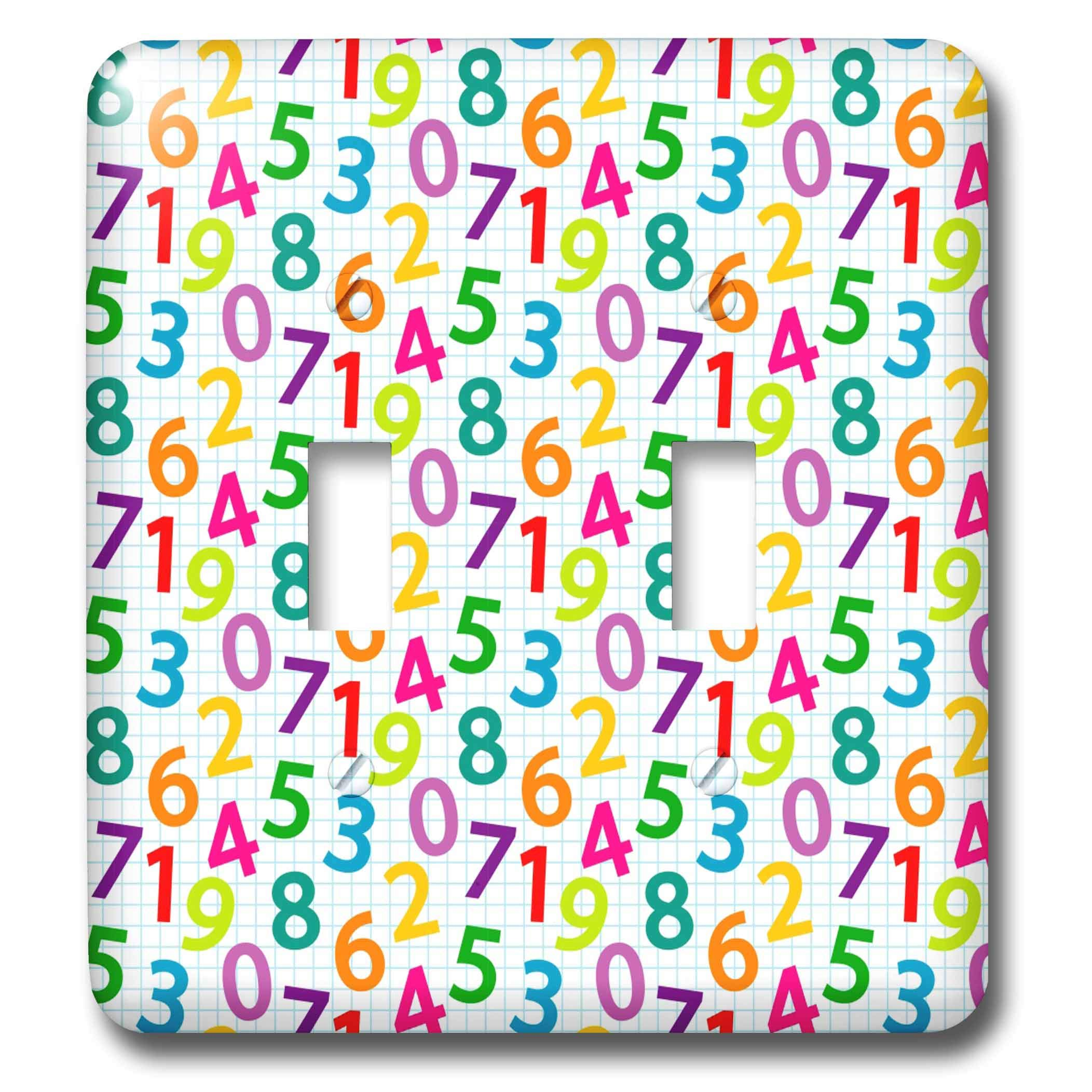 3dRose Alexis Design - Pattern Back To School - Colorful pattern of numbers on a squared paper. Back to school - Light Switch Covers - double toggle switch (lsp_292900_2)