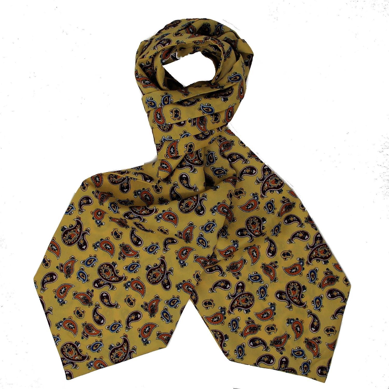 Ascot Cravat & Matching Handkerchief - Mustard Paisley - Vintage Styling