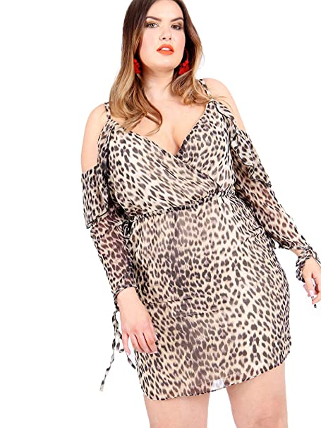 b8b516115aab Lovedrobe Koko Women's Plus Size Leopard Print Cold Shoulder Wrap Dress ...