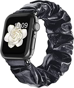 Compatible with Scrunchie Apple Watch Bands 38mm 40mm 42mm 44mm for Women Girl, Canvas Scrunchy Elastic Stretch Glitter Cloth Bracelet Strap for iWatch Series 6 5 4 3 2 1 Se, Black 38/40mm Small