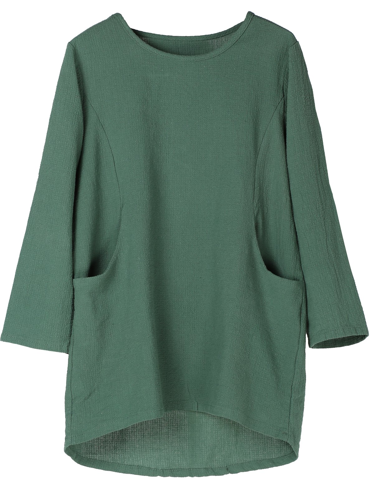 Minibee Women's Cotton Linen 4/5 Sleeve Tunic/Top Tees (2XL, Green)