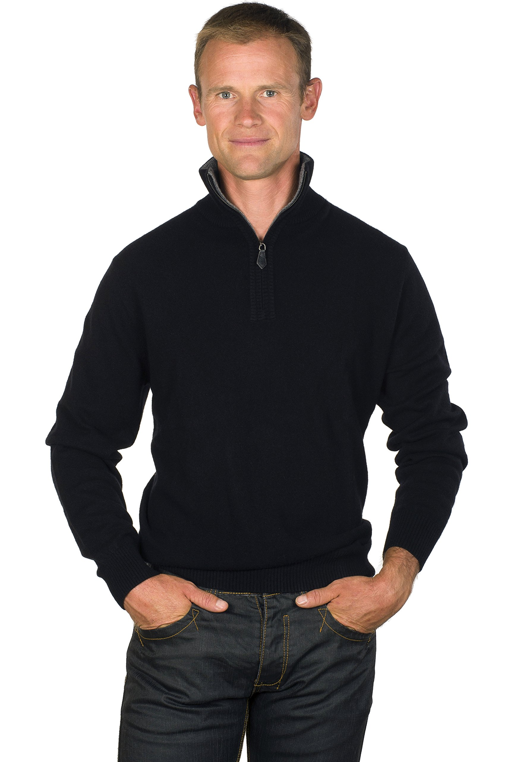 Ugholin Men's 100% Cashmere Zip Mock–Neck Sweater L Black
