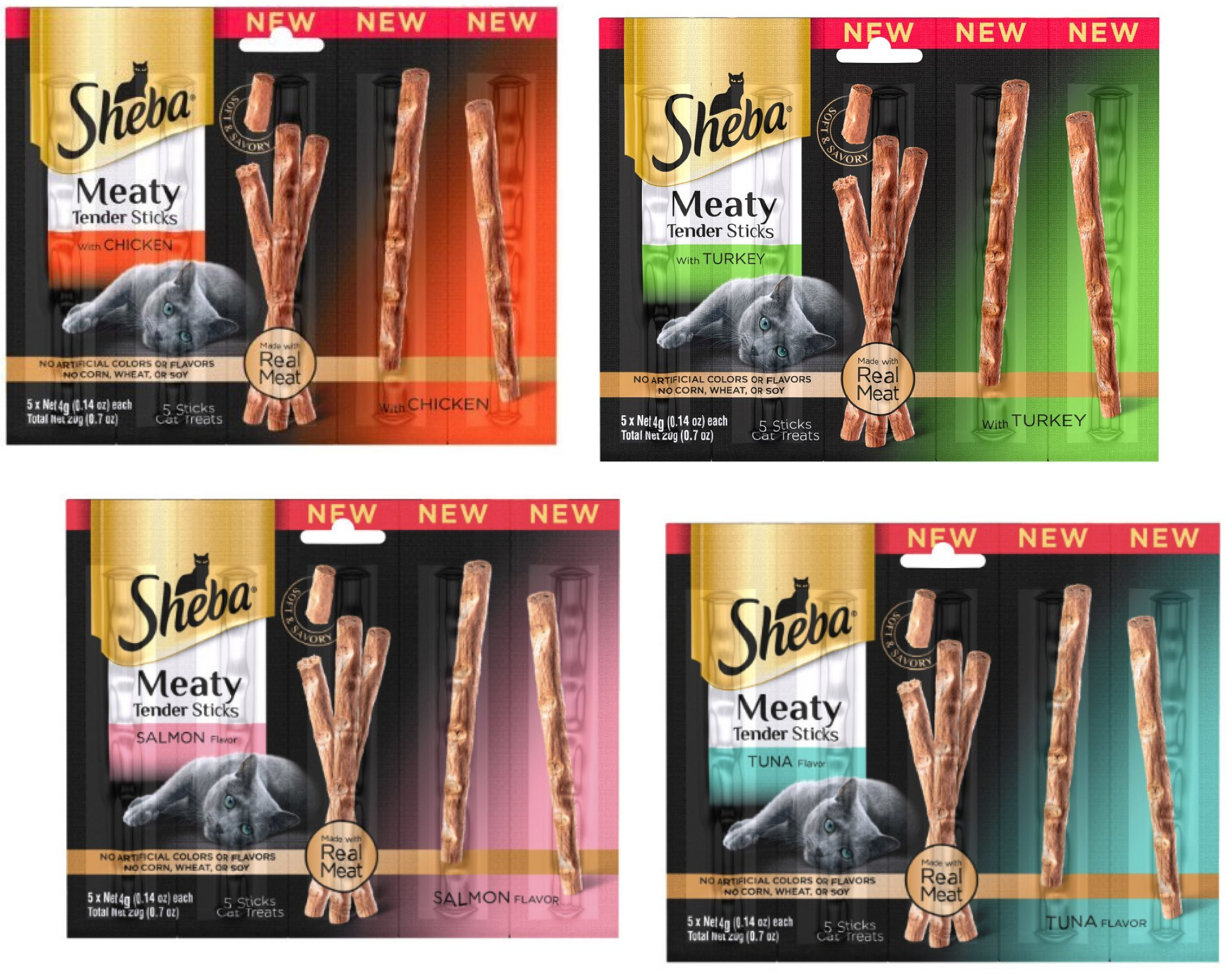 Sheba Meaty Tender Sticks - Cat Treats (Variety #2, Pack of 8)