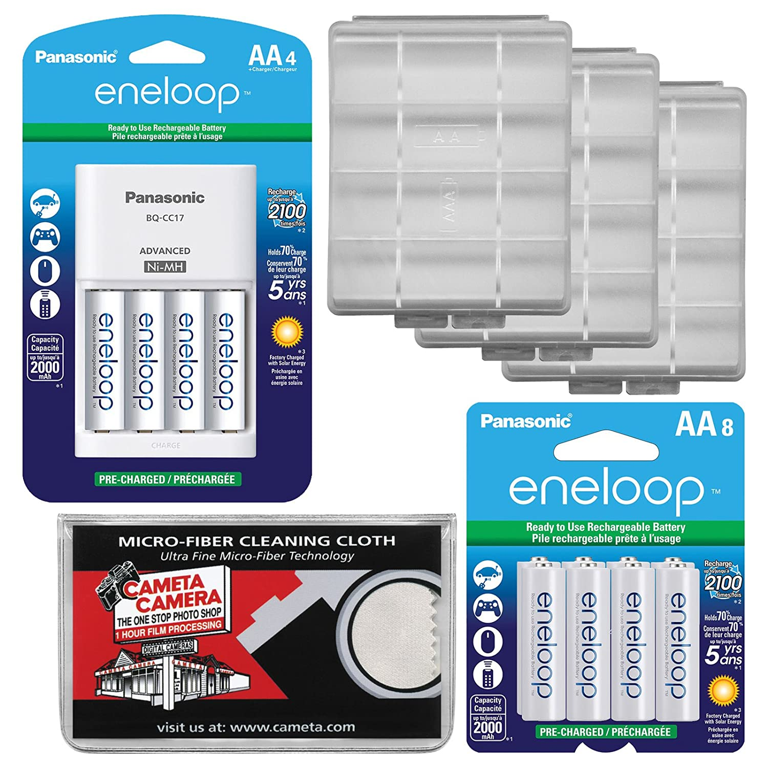 Panasonic eneloop (4 ) AA 2000 mAh pre-charged NiMH充電式電池&充電器+ (8 ) 予備バッテリーAA + (3 ) バッテリーCases +キット   B071VTMWH9